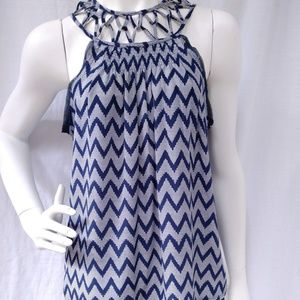 Greylin Silk Blouse Sleeveless Caged Yoke Chevron